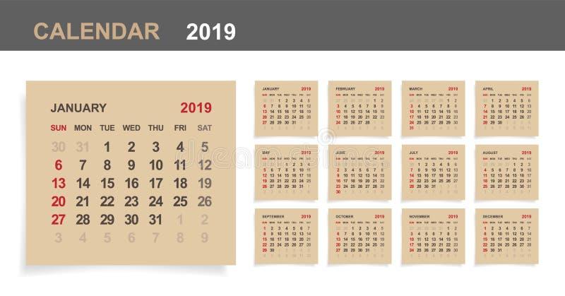 Kalender 2019 - uppsättning av den månatliga kalendern på bakgrund för brunt papper och vitträ royaltyfri illustrationer