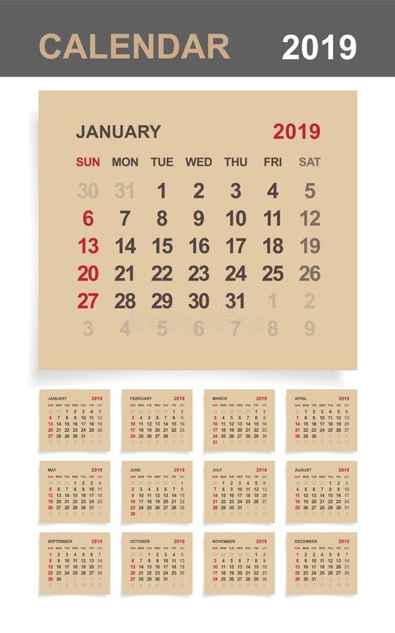 Kalender 2019 - uppsättning av den månatliga kalendern på bakgrund för brunt papper och vitträ stock illustrationer