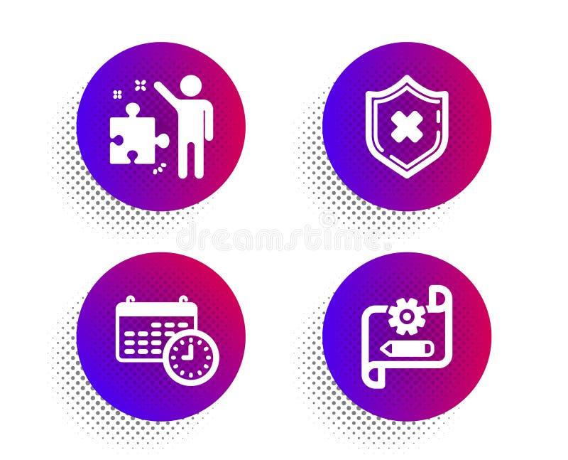Kalender-, utskottsvaraskydd och strategisymbolsuppsättning Kugghjulritningtecken Tid ingen säkerhet, affärsplan vektor stock illustrationer