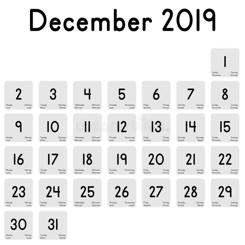 Kalender van de maand van December 2019 stock illustratie