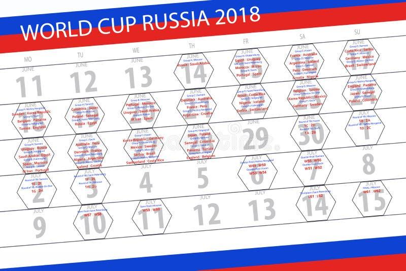 Kalender van gelijken van de Wereldbeker in Rusland 2018, voetbal, programma, steden, teams, groepen stock foto's