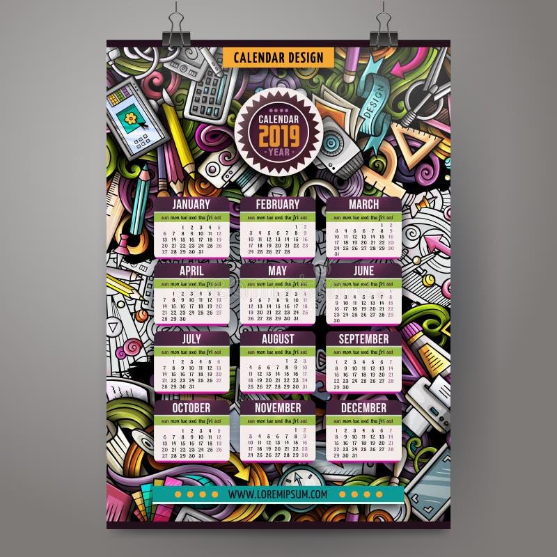 Kalender van het de Kunstenaars 2019 jaar van beeldverhaal de kleurrijke hand getrokken krabbels stock illustratie