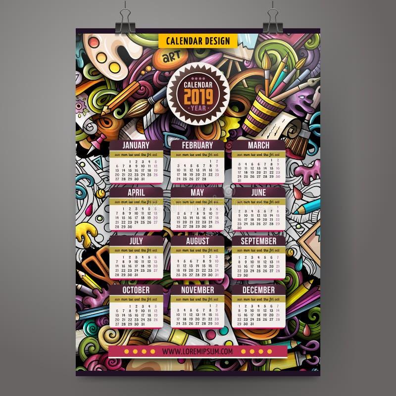 Kalender van het de Kunstenaars 2019 jaar van beeldverhaal de kleurrijke hand getrokken krabbels royalty-vrije illustratie