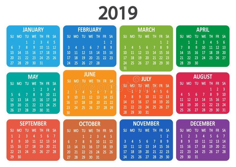 Kalender 2019 Veckan startar från söndag också vektor för coreldrawillustration royaltyfri illustrationer