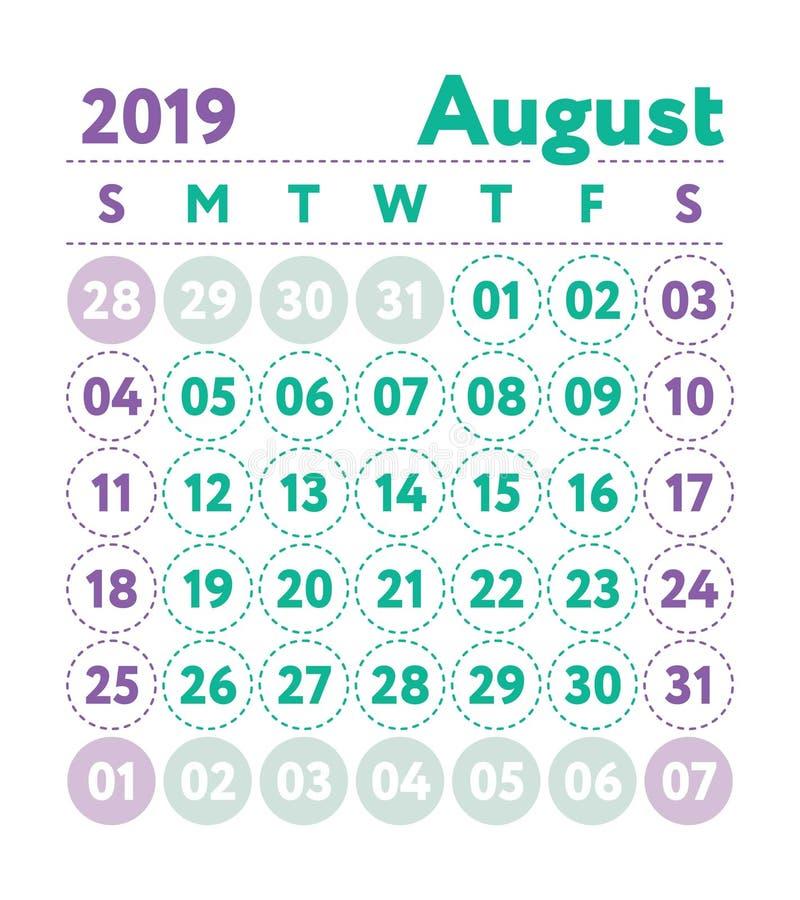 Kalender 2019 Vector Engelse kalender Augustus-maand Weekbegin stock illustratie