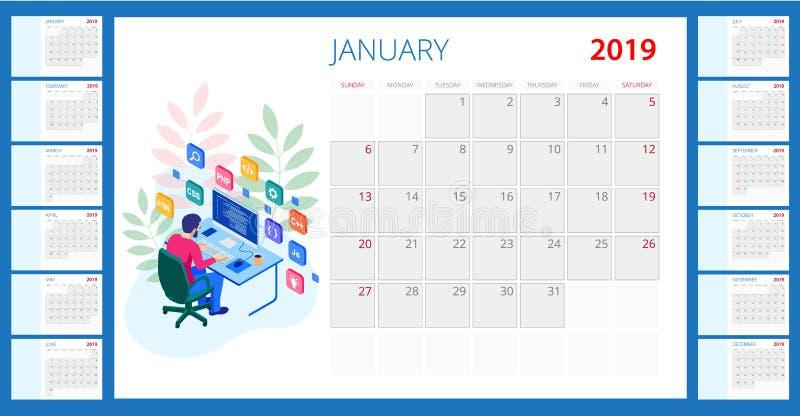 Kalender 2019 Vectormalplaatje met plaats voor foto 12 maanden Isometrische Ontwikkelende programmering en het coderen technologi vector illustratie
