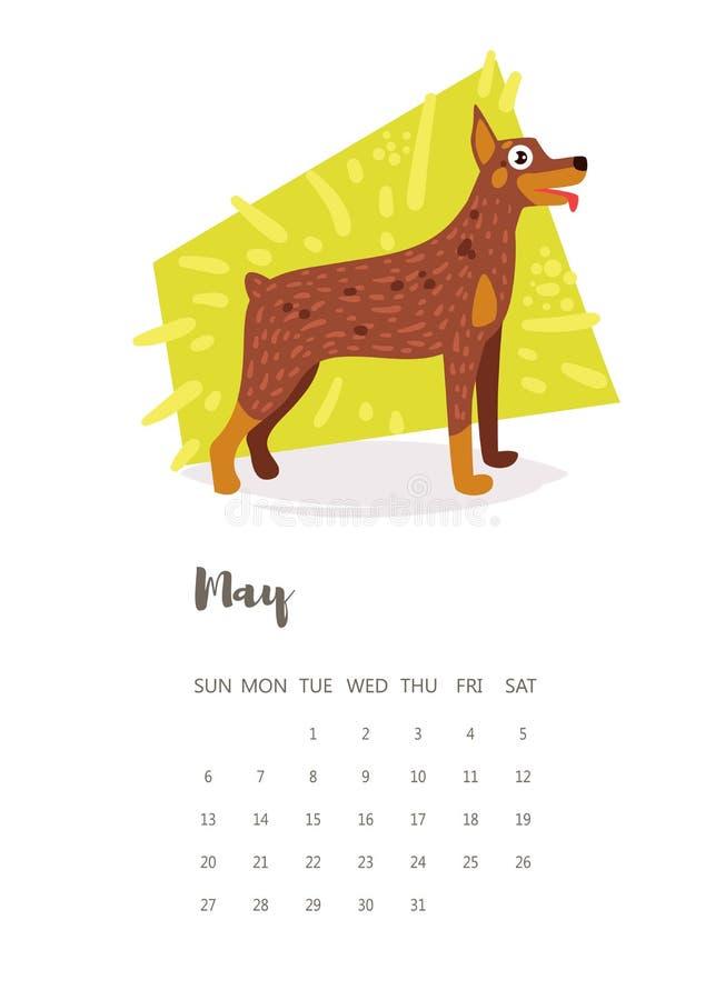 Kalender 2018 vektor cartoon royaltyfri illustrationer