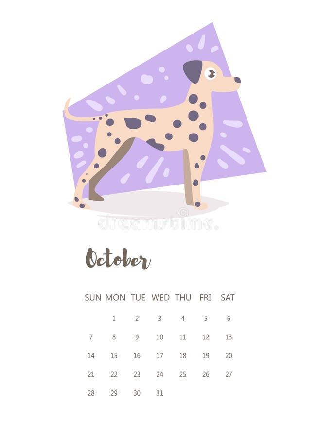 Kalender 2018 vektor cartoon stock illustrationer