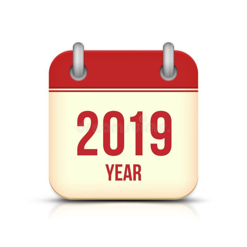 Kalender-Vektor-Ikone des neuen Jahr-2019 lizenzfreie abbildung