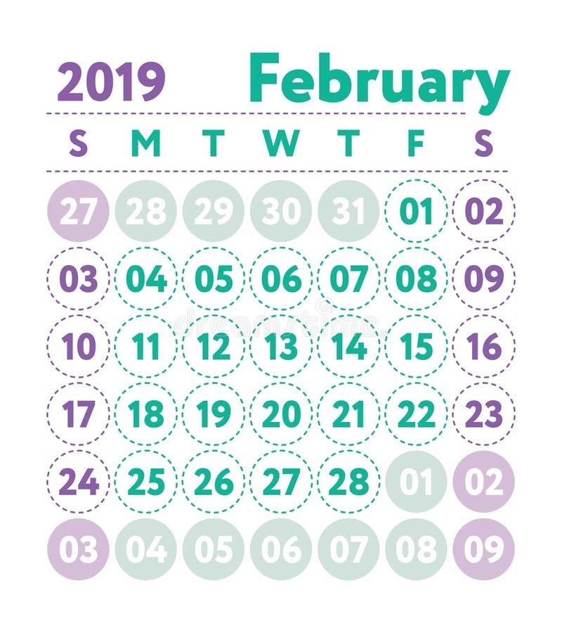 Kalender 2019 Vektorengelskakalender Februari månad Veckasta stock illustrationer