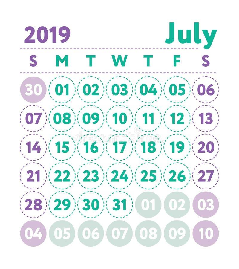 Kalender 2019 Vektorengelskakalender Juli månad Veckastarter vektor illustrationer