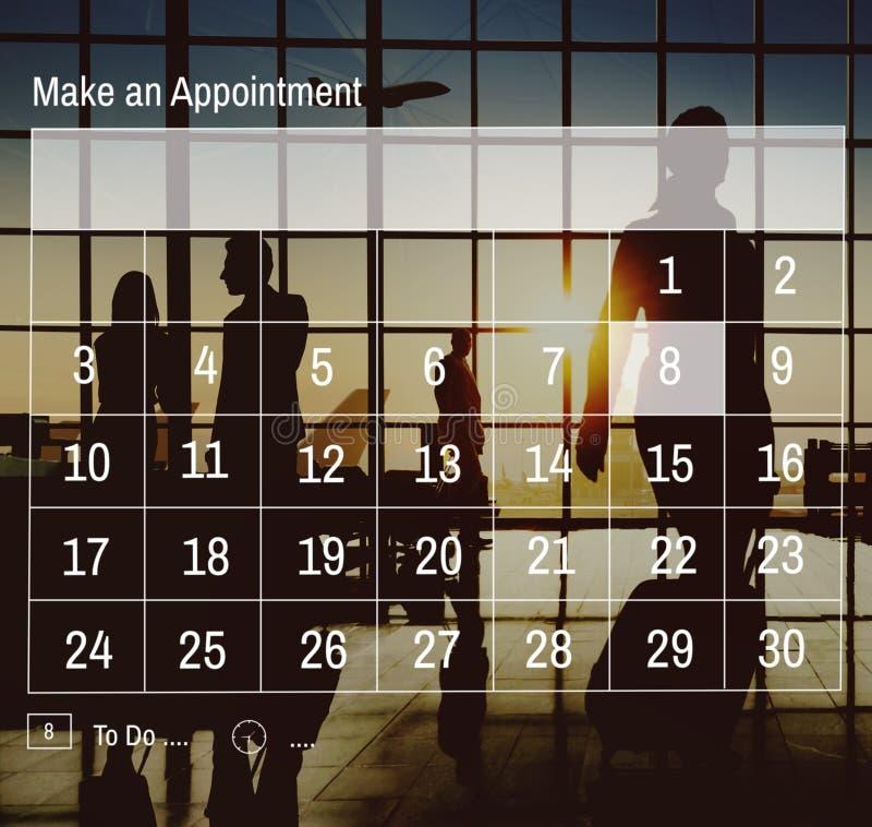 Kalender-Verabredungs-Tagesordnungs-Zeitplan-Organisations-Konzept lizenzfreie stockfotografie