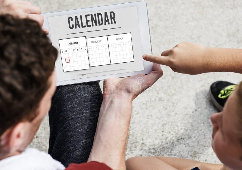 Kalender-Verabredungs-Tagesordnungs-Zeitplan-Planungs-Konzept stockbild