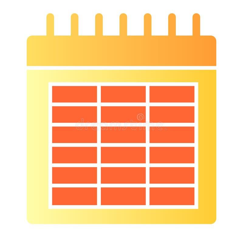 Kalender vlak pictogram De pictogrammen van de datumkleur in in vlakke stijl De stijlontwerp van de maandgradiënt, voor Web dat e stock illustratie