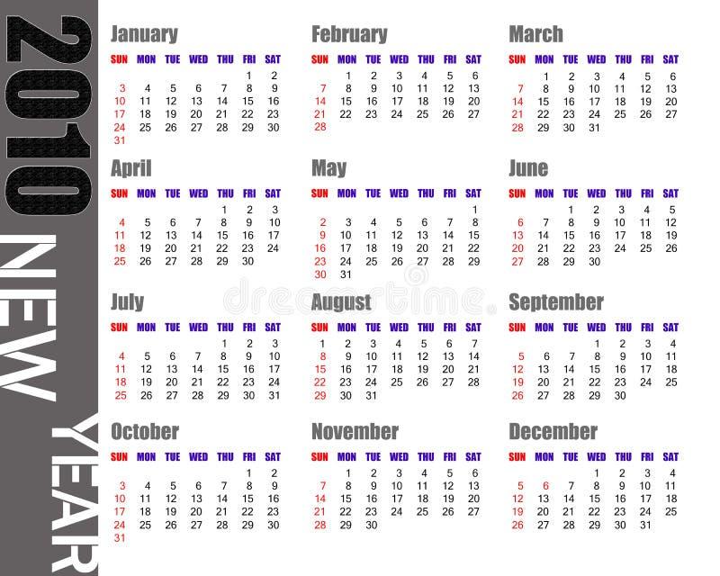 Kalender von 2010 lizenzfreie abbildung