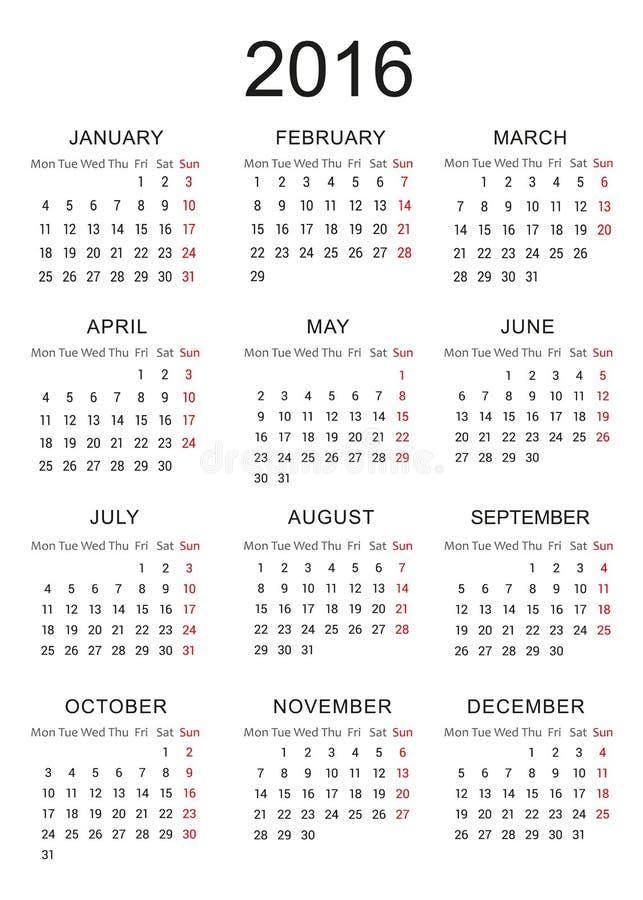 kalender von 2016 vektor abbildung illustration von fall. Black Bedroom Furniture Sets. Home Design Ideas
