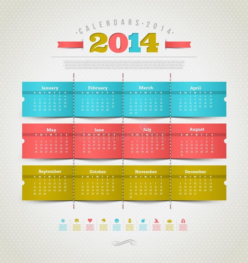 Kalender von 2014 mit Feiertagsikonen lizenzfreie abbildung
