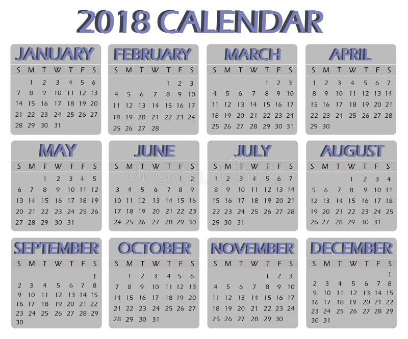 Kalender voor 2018 royalty-vrije stock foto