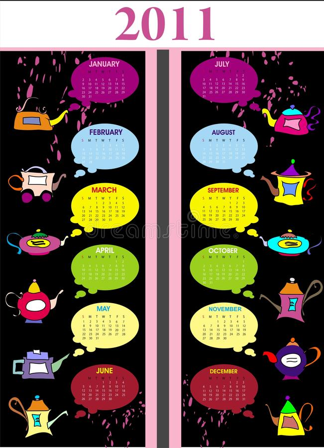 Kalender voor 2011 stock illustratie