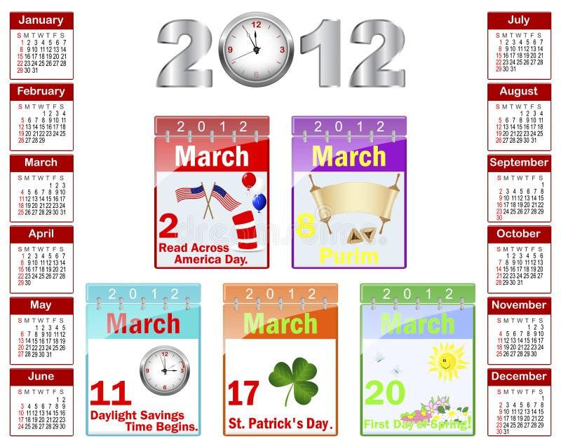 Kalender voor 2012. royalty-vrije illustratie