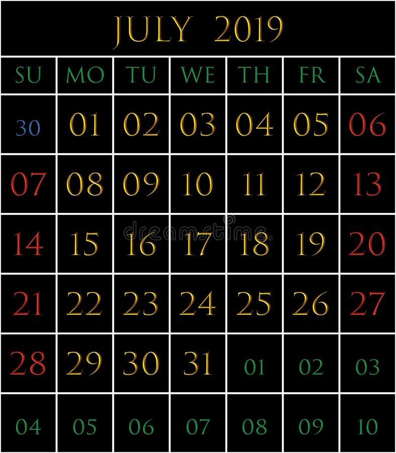 2019 Kalender voor de maand van Juli stock illustratie