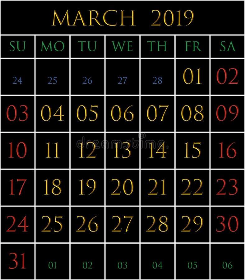2019 Kalender voor de maand van Maart vector illustratie