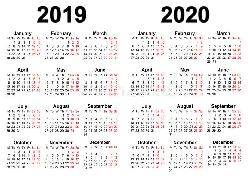 Kalender voor 2019 en 2020 vector illustratie