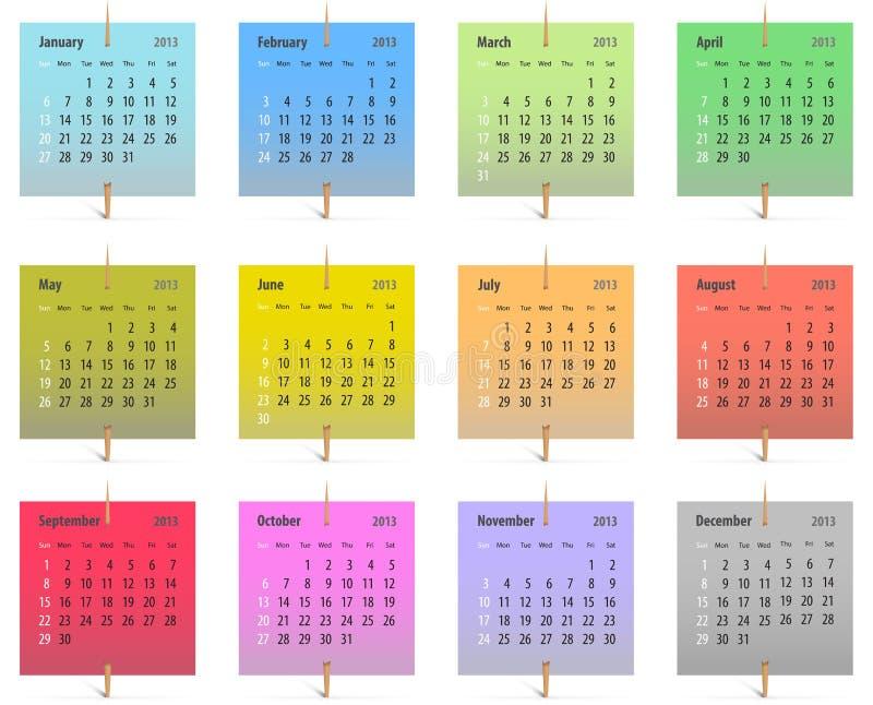Kalender voor het jaar van 2013 stock illustratie