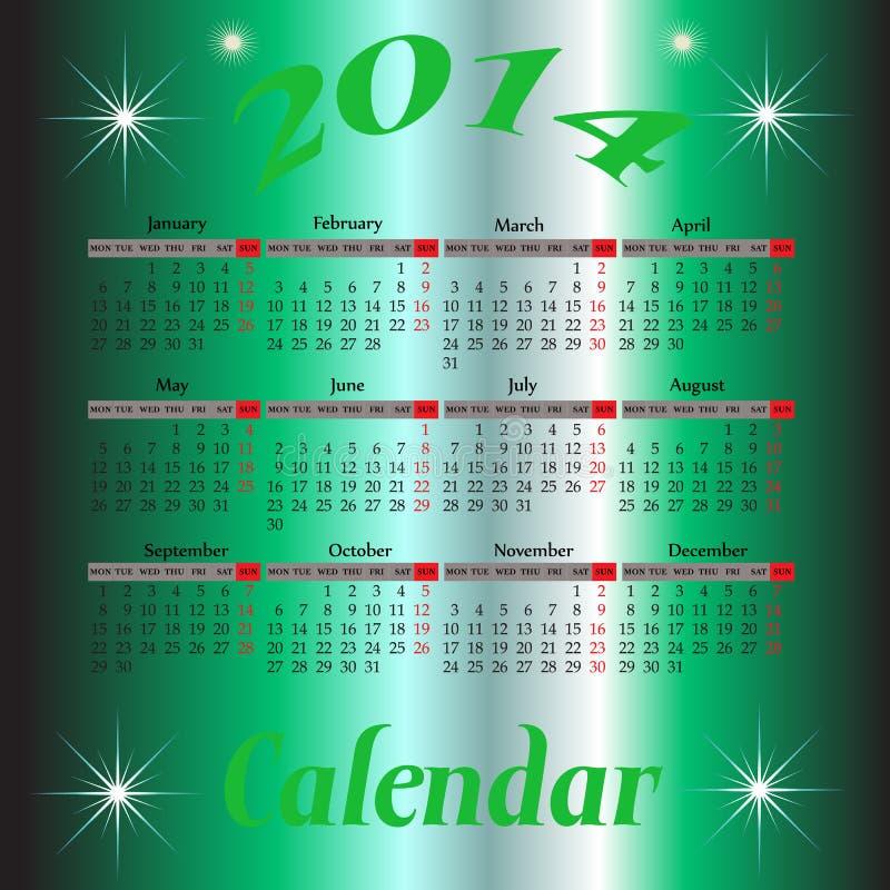 Kalender voor het jaar van 2014 stock illustratie