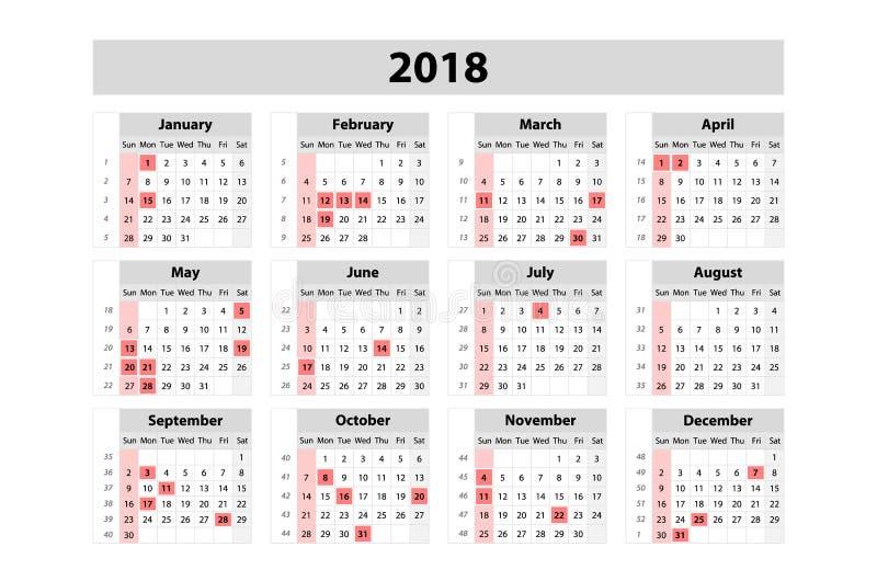 Kalender voor het jaar van 2018 Het vectormalplaatje van de Ontwerpdruk Het begin van de week op Zondag Reeks van 12 Maanden royalty-vrije illustratie