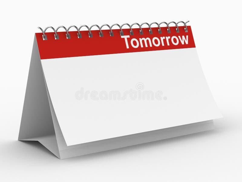 Kalender voor morgen op witte achtergrond stock illustratie