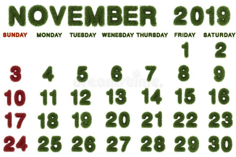 Kalender voor November 2019 op witte achtergrond, vector illustratie