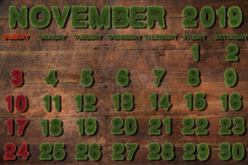 Kalender voor November 2019 op witte achtergrond, stock afbeeldingen