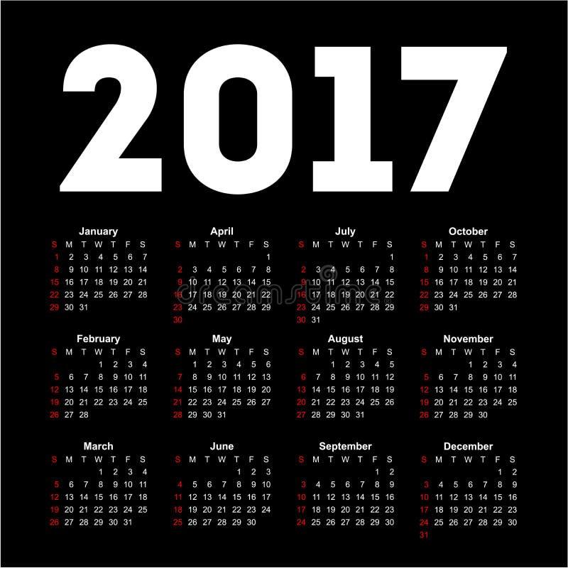 Kalender voor 2017 op zwarte achtergrond stock illustratie