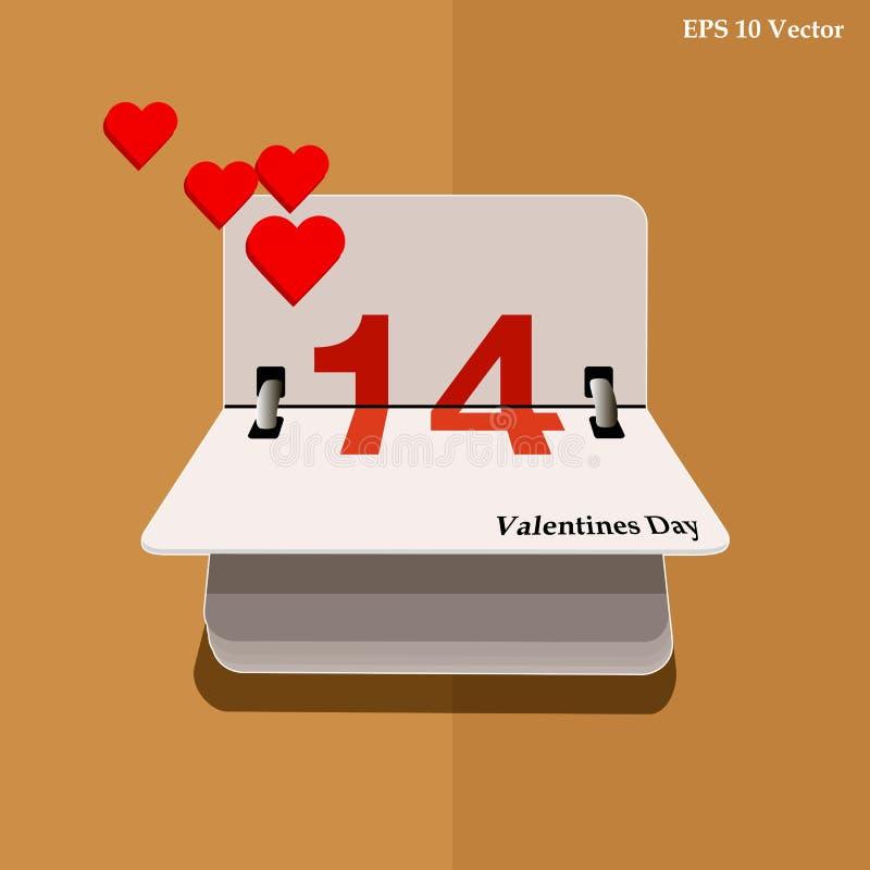 Kalender voor valentijnskaartendag, alendar Datum, 14 Februari, kalender op vlak ontwerp stock illustratie