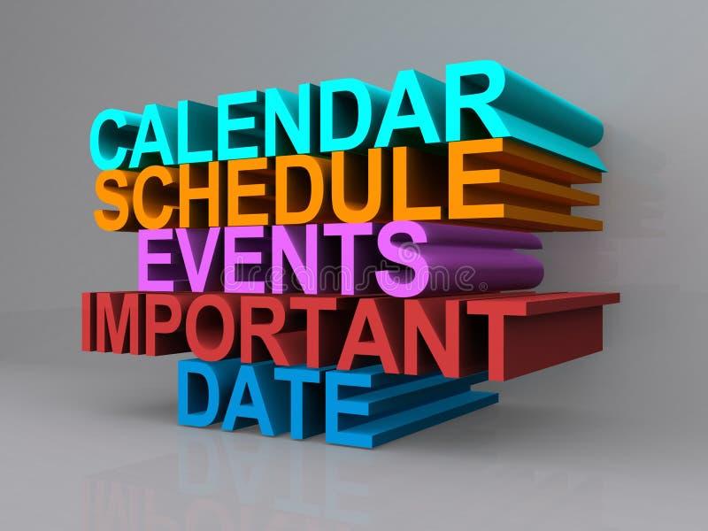 Kalender, Zeitplan, Ereignisse, wichtiges Datum vektor abbildung