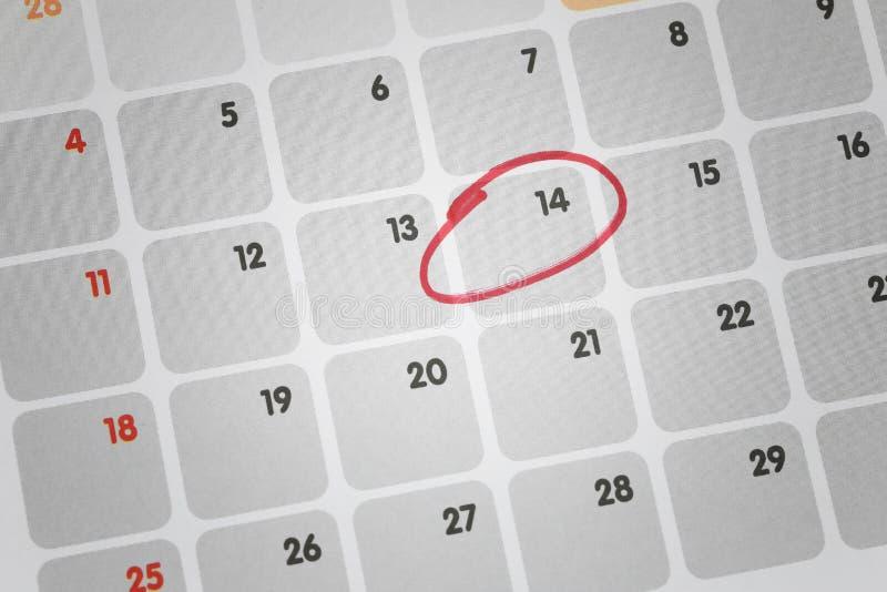 Kalenderachtergrond van nadruk in Veertiende dag stock afbeeldingen