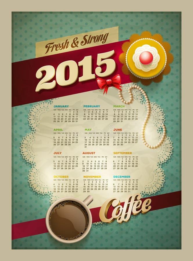 Kalenderaffisch för kaffe 2015 & kaka royaltyfri illustrationer