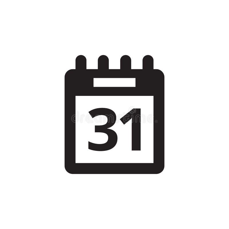 Kalenderagenda - zwart pictogram op witte vectorillustratie als achtergrond voor website, mobiele toepassing, infographic present stock illustratie