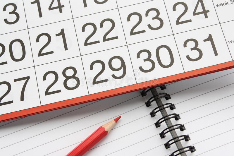 kalenderanteckningsbok arkivbilder