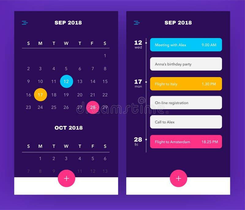 Kalenderapplikationmall med som gör listan och uppgifter UI UX Design för mobiltelefon Händelseapplikation i lilafärg royaltyfri illustrationer
