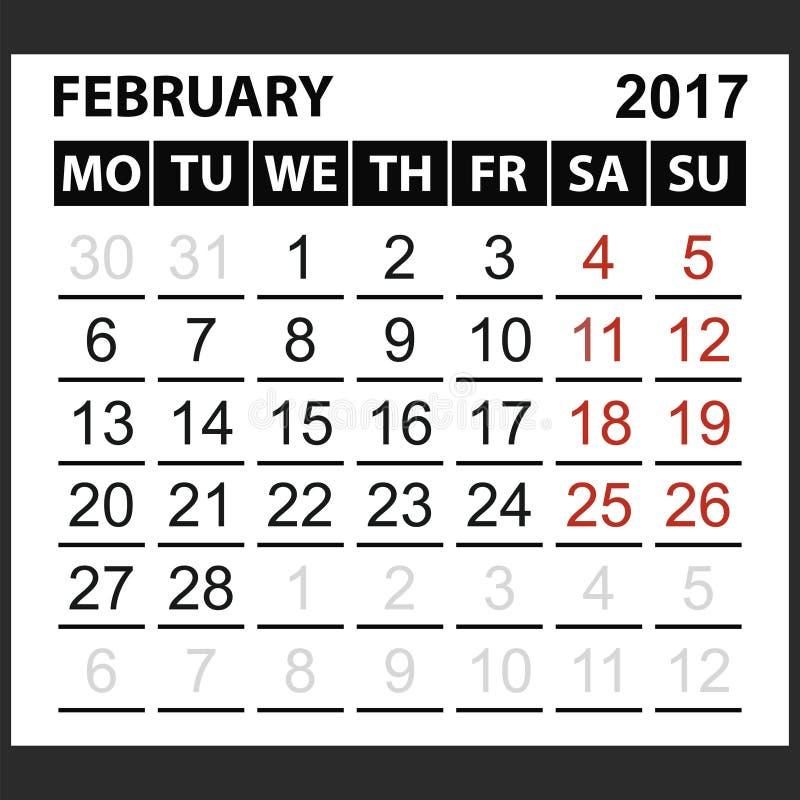 Kalenderark Februari 2017 stock illustrationer