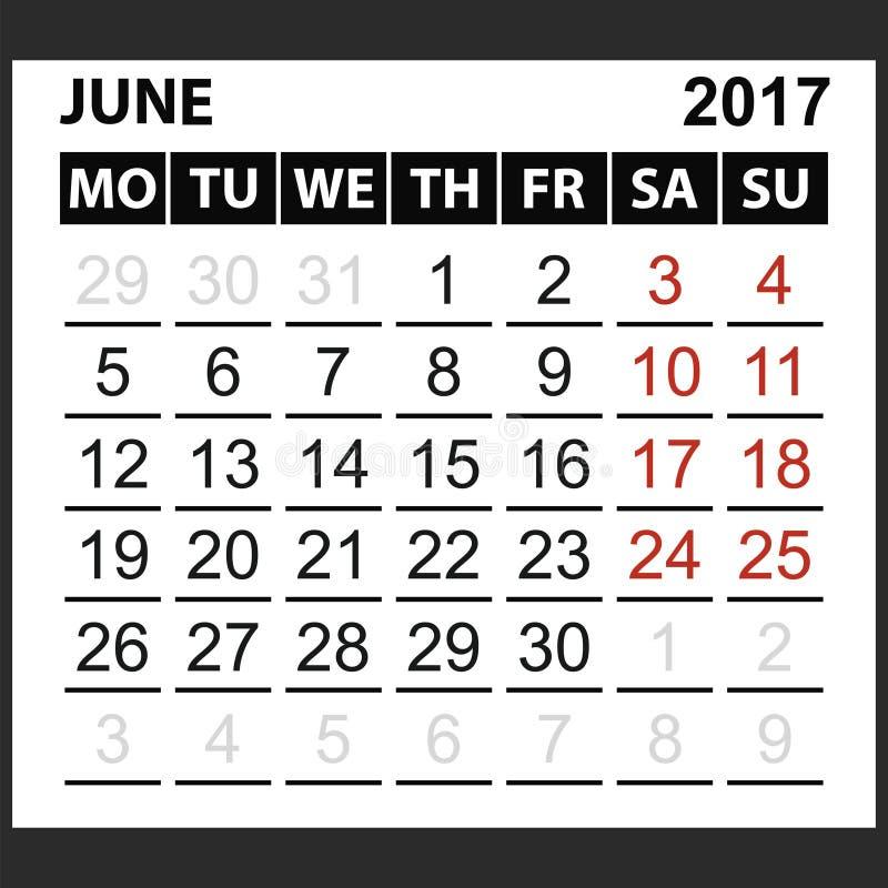 Kalenderark Juni 2017 vektor illustrationer