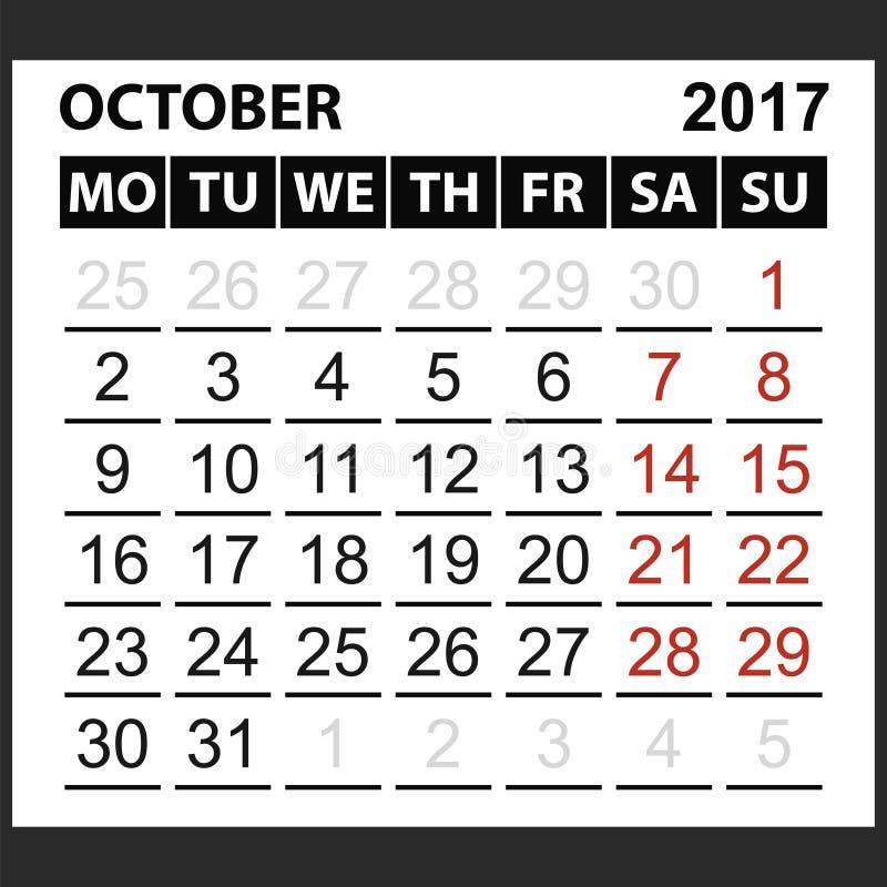 Kalenderark Oktober 2017 royaltyfri illustrationer