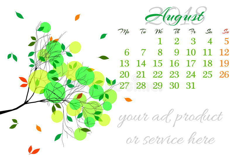 Kalenderblad voor 2018 Augustus met boomtak stock illustratie