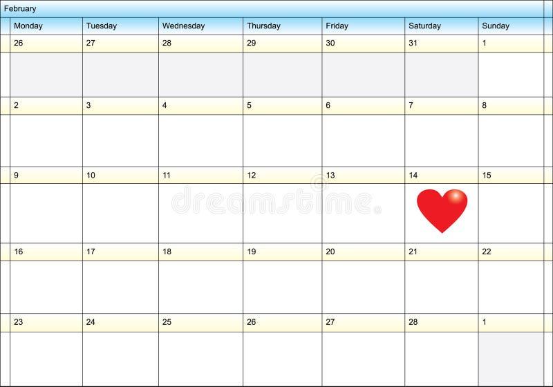 kalenderdag som visar valentinen stock illustrationer