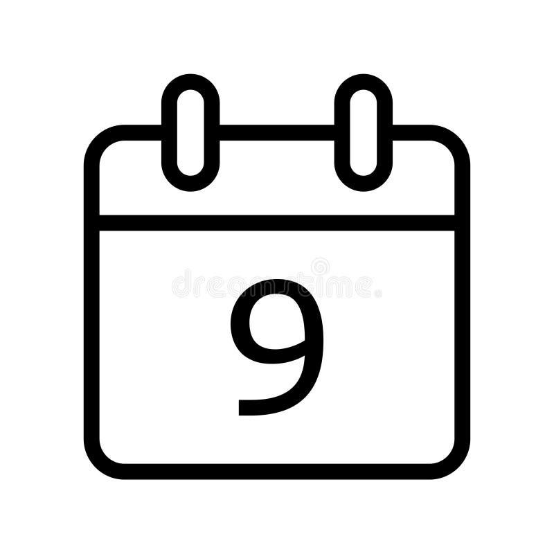 Kalenderdag symbol för nio datum vektor illustrationer