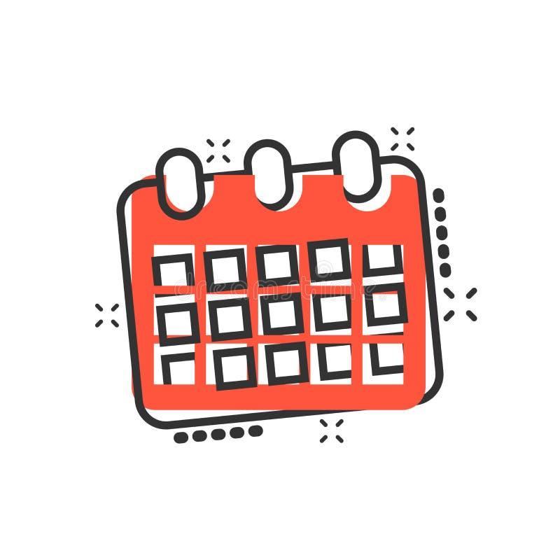 Kalenderdagordningsymbol i komisk stil Pictogram för illustration för stadsplanerarevektortecknad film Effekt för kalenderaffärsi vektor illustrationer