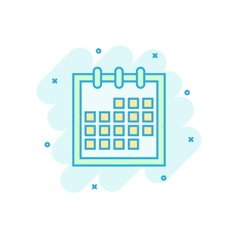Kalenderdagordningsymbol i komisk stil Pictogram för illustration för stadsplanerarevektortecknad film Effekt för kalenderaffärsi stock illustrationer