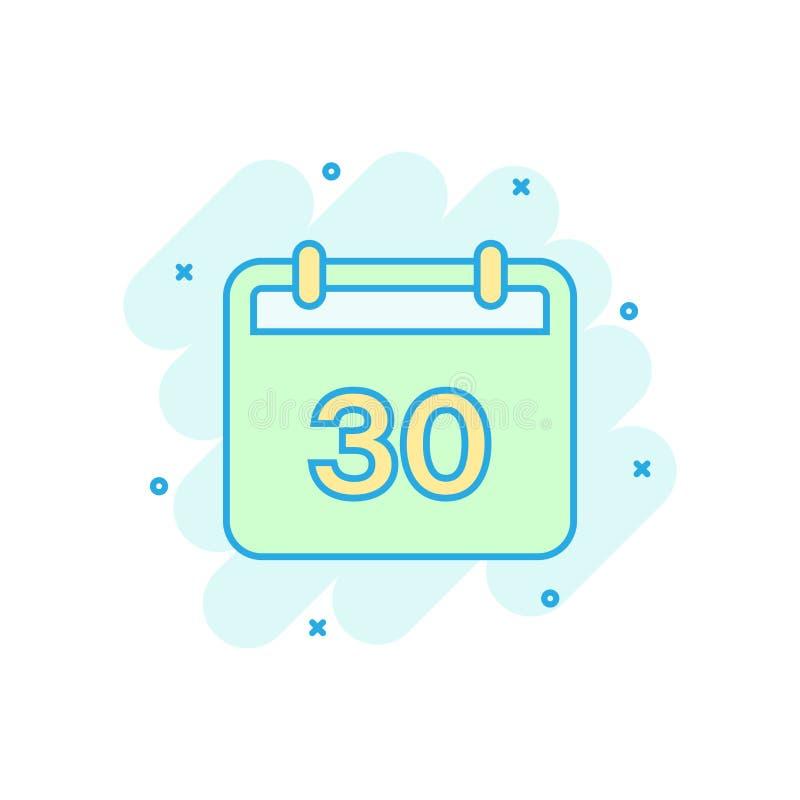 Kalenderdagordningsymbol i komisk stil Pictogram för illustration för stadsplanerarevektortecknad film Effekt för kalenderaffärsi royaltyfri illustrationer